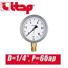 Манометр Itap D1/4 P=6 bar