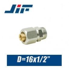 """Переход с наружной резьбой металлопластик JiF D16x1/2"""""""