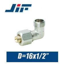 "Угол с наружной резьбой металлопластик JiF D16x1/2"""