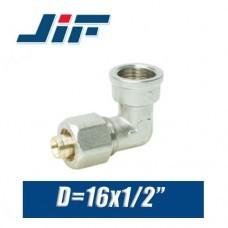 "Угол с внутренней резьбой металлопластик JiF D16x1/2"""