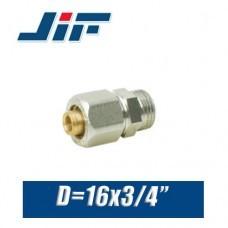 """Переход с наружной резьбой металлопластик JiF D16x3/4"""""""