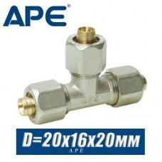Тройник соединительный металлопластик APE D20x16x20мм