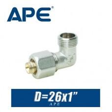 Угол с наружный резьбой металлопластик APE D26х1