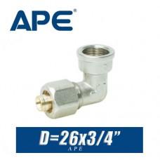 Угол с внутренней резьбой металлопластик APE D26х3/4