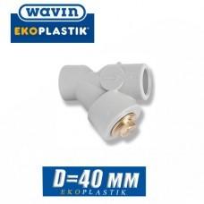 Фильтр грубой отчистки ПП Wavin D40мм