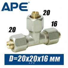 Тройник соединительный металлопластик APE D20x20x16мм