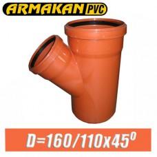 Тройник канализационный ПВХ Armakan D160/110x45 град.
