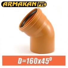 Угол канализационный ПВХ Armakan D160x45 град.