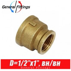 Муфта латунная General Fittings 1/2x1, вн./вн.