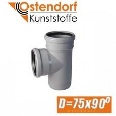 Тройник канализационный Ostendorf D75x90 град.