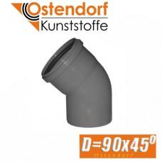 Угол канализационный Ostendorf D90x45 град.
