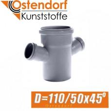 Крестовина канализационная Ostendorf D110/50x45 град.