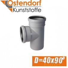 Тройник канализационный Ostendorf D40x90 град.