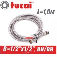 Гибкая подводка Tucai 1/2x1/2, L1,0м, г/г