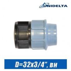 "Переход ПЭ Unidelta D=32x3/4"", вн."