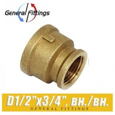 Муфта латунная General Fittings 1/2x3/4, вн./вн.