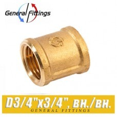 Муфта латунная General Fittings D3/4x3/4, вн./вн.
